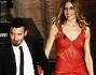 Max Biaggi ed Eleonora Pedron scendono le scale dell'Ariston