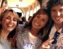 Benedetta Parodi e Cristina Parodi con Francesco a Largo Rezzara a Bergamo
