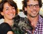 Francesco Montanari e Andrea Delogu con la cagnolina Spilla ad un evento di beneficenza nella Capitale