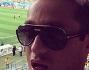 Pietro Tavallini sugli spalti dello stadio di Belo Horizonte con tanto di selfie