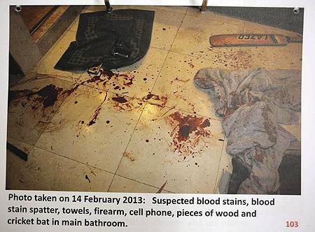 La scia di sangue della povera reeva steenkamp foto e gossip - Arma letale scena bagno ...