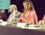 Simona con Patrizia Mirigliani e gli altri responsabili durante la conferenza stampa