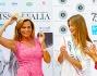 Simona Ventura e Patrizia Mirigliani con la Miss uscente Giulia Arena durante la conferenza stampa a Jesolo