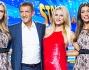 Ezio Greggio e Michelle Hunziker posano insieme alle Veline confermate Irene Cioni e Ludovica Frasca