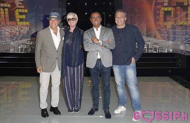 Carlo Conti con Claudio Amendola; Loretta Goggi ed Enrico Montesano