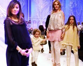 Claudia Gerini in passerella con Rosa e Linda