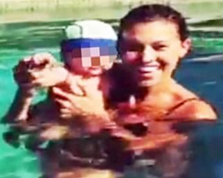 Belen in piscina con Santiago