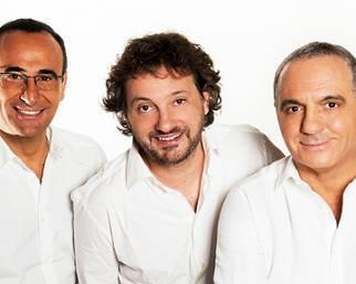 Carlo Conti, saltelli sul set con Pieraccioni e Panariello