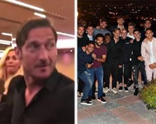 Francesco Totti con Ilary Blasi alla cena d'addio
