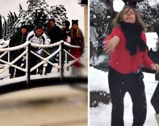 Neve a Roma: il dolce risveglio dei vip dalla Blasi alla Perego e…