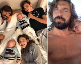 Andrea Pirlo al mare con Valentina, i gemelli e il primogenito