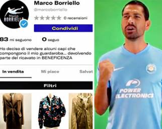 Marco Borriello vende i suoi capi per beneficenza