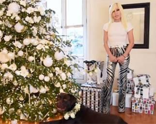 Donatella Versace, casa e cani addobbati per Natale