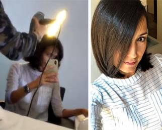 Caterina Balivo, prima e dopo il parrucchiere