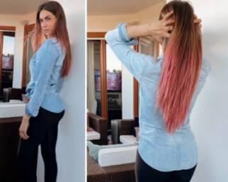 Melissa Satta cambia look e passa al rosa