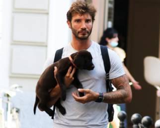 Stefano De Martino a spasso con il cane