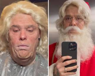 Fedez si traveste da Babbo Natale