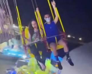 Nina Moric al luna park con Carlos